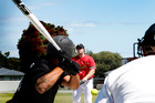Whanganui Braves pitcher Brad Worsley sending down another strike during his team's narrow loss to the Manawatu Dodgers at Gonville on Saturday.