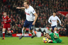 Tottenham's Harry Kane is fouled by Liverpool goalkeeper Loris Karius. Photo / Getty Images.