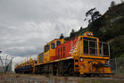 The first log train expected to run on the Napier- Wairoa line by the end of the year. Photo / File