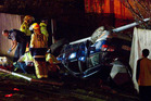 A teenager was killed in this crash after he fled police in West Auckland. NZ Herald photograph