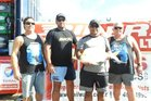 Snapper Bonanza organisers John Stewart and Dave Collard with Chad Prentice and Skarn Hokai, the top placegetters in the Riders Sports and Fin Nor Twilight Fishing Contest on Sunday afternoon.