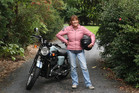 Far North District councillor Ann Court, of Waipapa, with her 900cc Triumph Bonneville T100 and her pink leather jacket. Photo/ Peter de Graaf