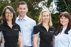 From left, university graduates Laura Rossi, Caleb Higham, Elena Minnée and Mallory Crookenden, who  believe modern, science-led farming is the way  forward for the dairy sector.