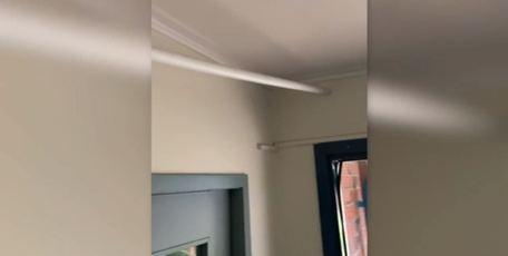 'Chorus cowboys': Shoddy fibre installation through the middle of the room