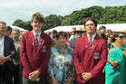 St John's College student Brad Selwood, Governor General Patsy Reddy and Ben Gardiner. Photo / Supplied