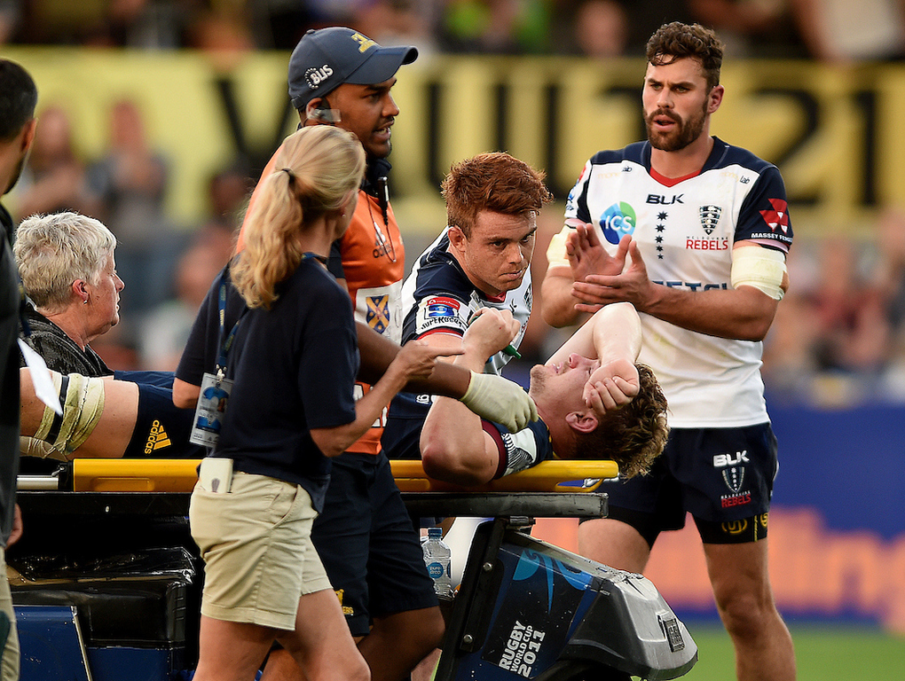 Super Rugby: Skipper James Lentjes suffers horror injury as Highlanders sink to shock home loss to Rebels